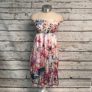 Lapis Strapless Floral Dress EUC